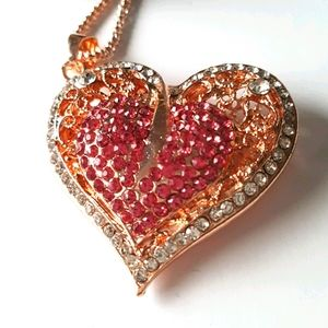 NEW BJ Necklace Heart Crystal Pendant